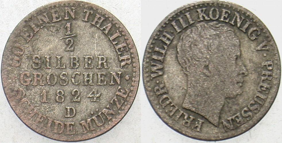 1/2 Silbergroschen 1824 D Preußen Friedrich Wilhelm III. 1797-1840. Schön