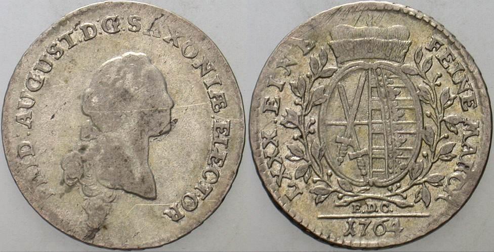 1/6 Taler (1/8 Konventionstaler) 1764 EDC Sachsen-Albertinische Linie Friedrich August III. 1763-1806. Sehr schön