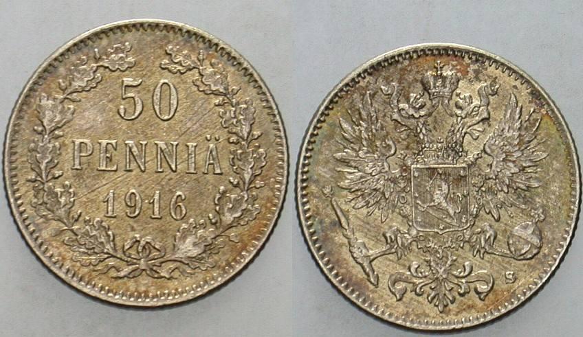 50 Penniä 1916 Finnland Nikolaus II. 1894-1917. Patina, vorzüglich