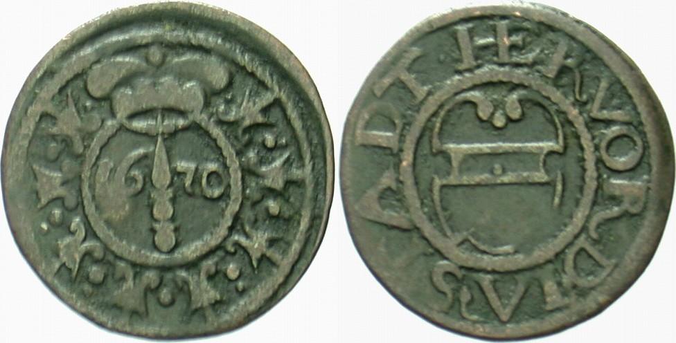 6 Pfennig 1670 Herford, Stadt Friedrich Wilhelm, 1640-1688 Sehr schön