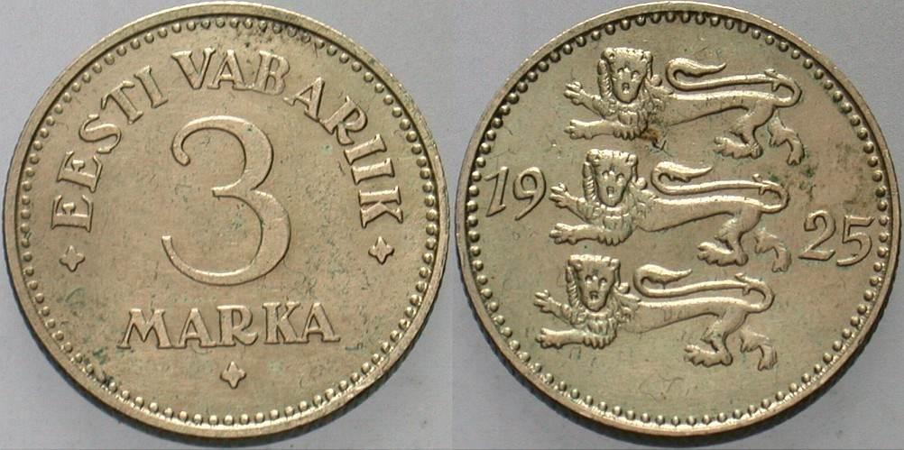 3 Marka 1925 Estland Republik, 1918-1941 Patina, sehr schön - vorzüglich