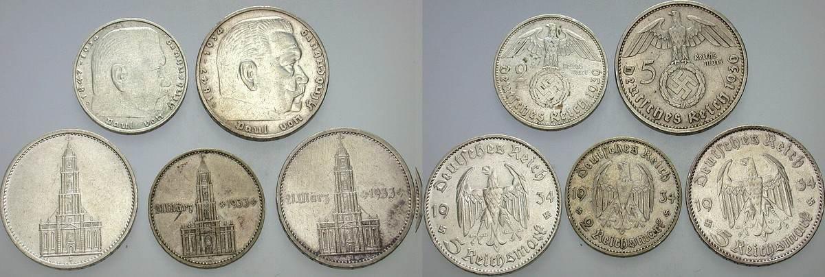 Lot von 2 + 5 Reichsmark 1934,1936,1939 div.  Meist sehr schön
