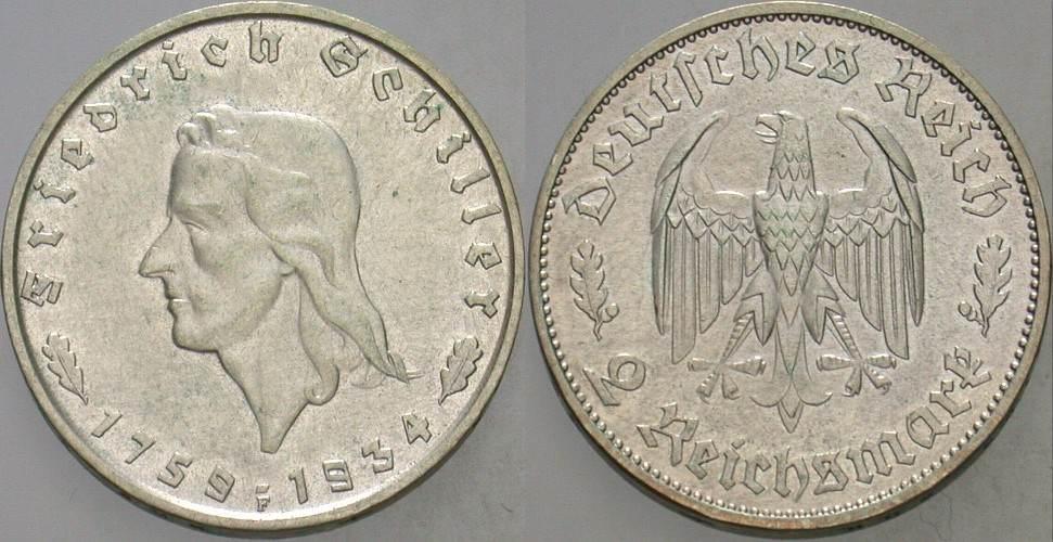 2 Reichsmark 1934 F  Patina, sehr schön - vorzüglich