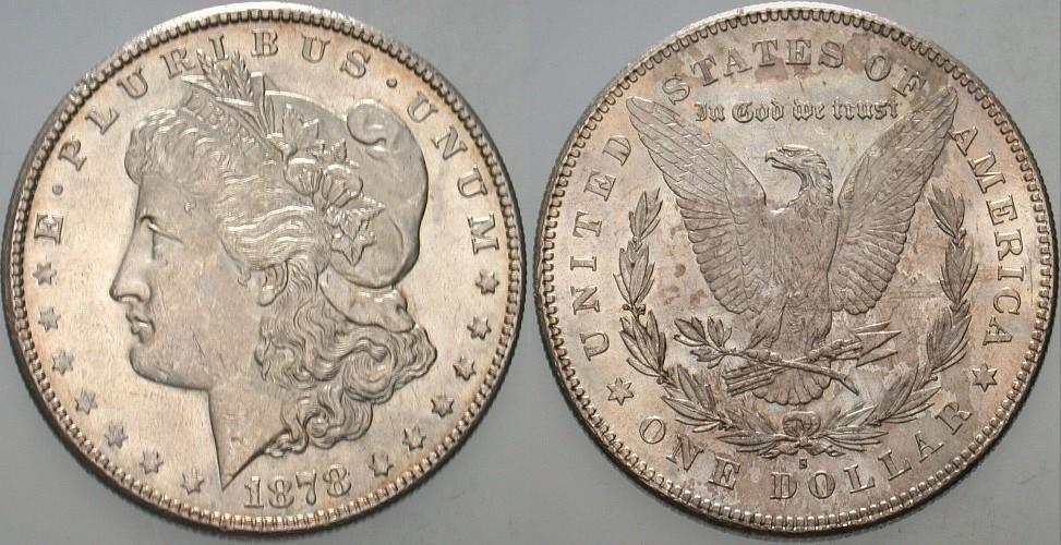 1 Dollar 1878 S Vereinigte Staaten von Amerika Patina, fast Stempelglanz