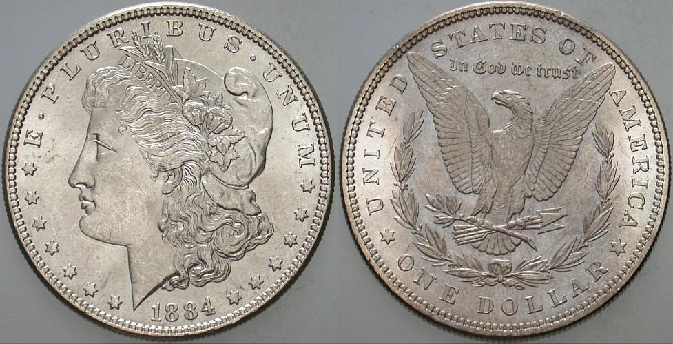 1 Dollar 1884 Vereinigte Staaten von Amerika Patina, fast Stempelglanz