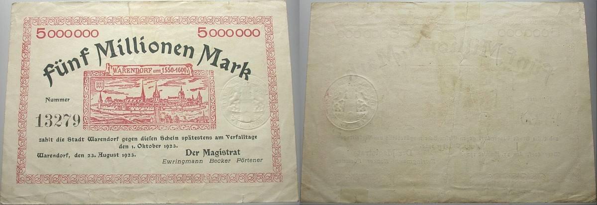 5 Million Mark 1923-08-23 Das Papiernotgeld von Westfalen Der Magistrat und Die Stadtsparkasse Gebraucht