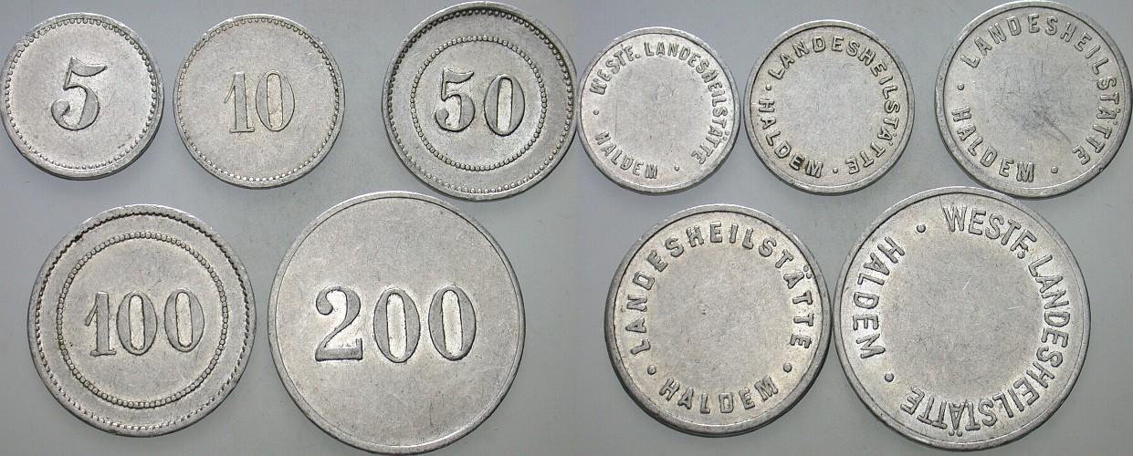 Marken zu 5, 10, 50, 100, 200 o.J. Haldem (Stemwede) LANDESHEILSTÄTTE HALDEM Sehr schön