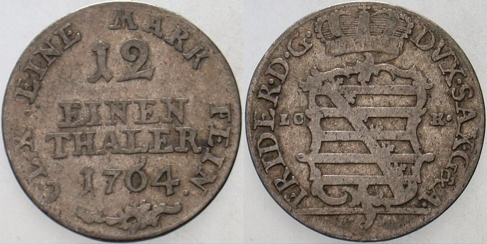 1/12 Taler (Doppelgroschen) 1764 CLK (Gotha) Sachsen-Gotha-Altenburg Friedrich III. 1732-1772. Fast sehr schön