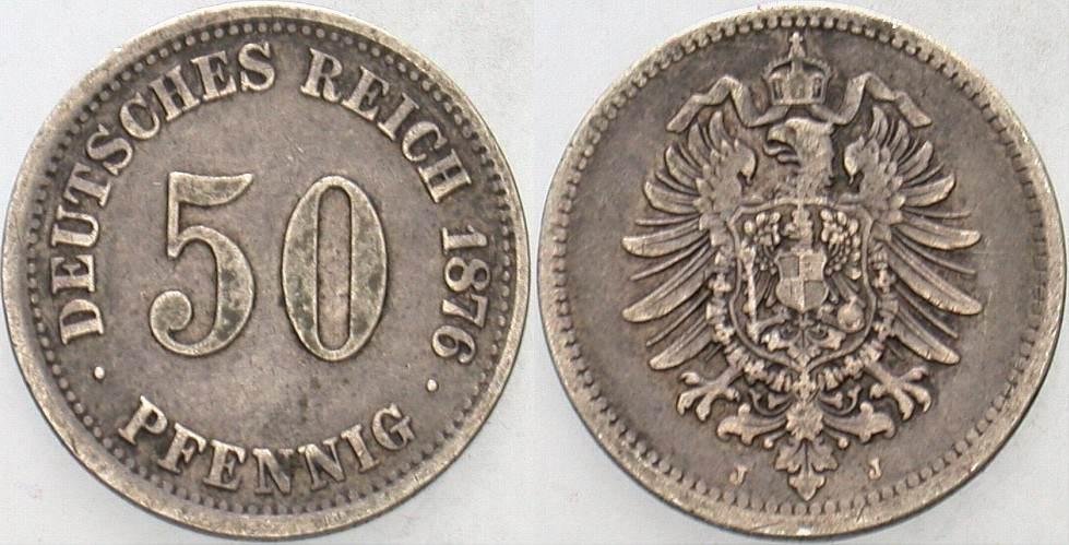 50 Pfennig 1876 J Kleinmünzen Sehr schön