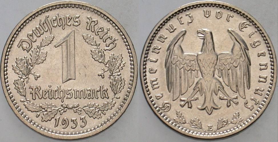 1 Reichsmark 1933 E  Fast vorzüglich