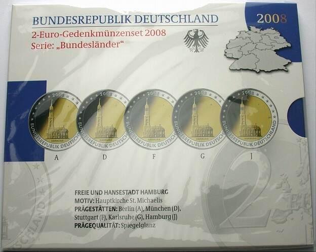 5 x 2 Euro 2008 A,D,F,G,J Deutschland FREIE UND HANSESTADT HAMBURG Spiegelglanz