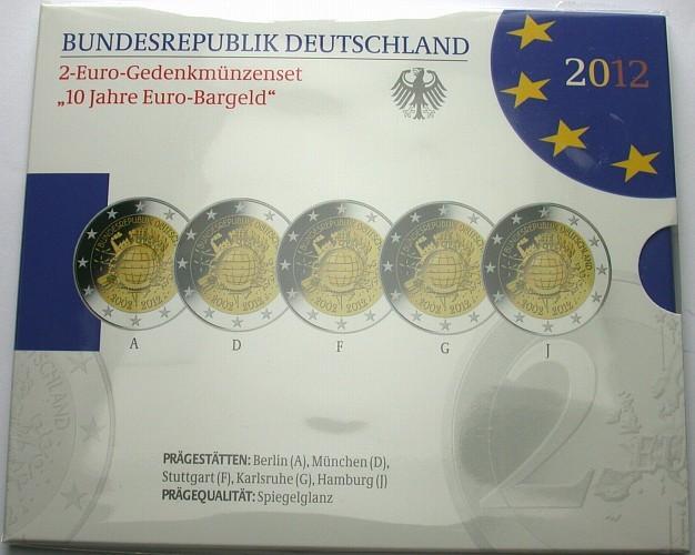 5 x 2 Euro 2012 A,D,F,G,J Deutschland 10 JAHRE EURO Spiegelglanz