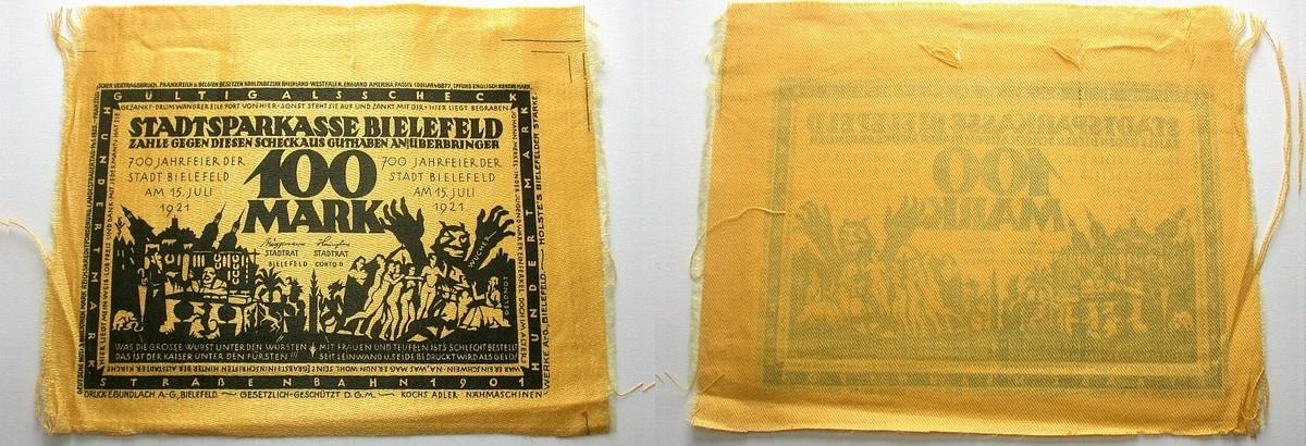 100 Mark 15.7.1921 Bielefeld Einriße außerhalb des Druckfeldes, sonst leicht gebraucht