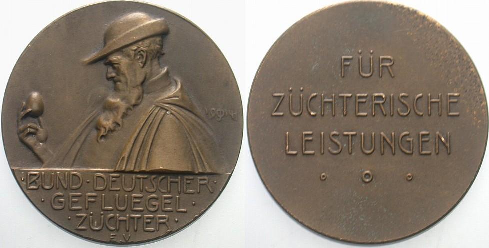 Bronzemedaille 1914 Tiere BUND DEUTSCHER GEFLÜGELZÜCHTER Winz. Randfehler, sehr schön - vorzüglich