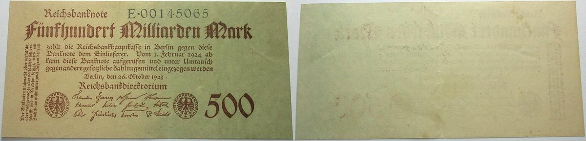 500 Milliarden Mark 1923-10-26 Banknoten nach Rosenberg Geldscheine der Inflation, 1919 - 1924 Kassenfrisch