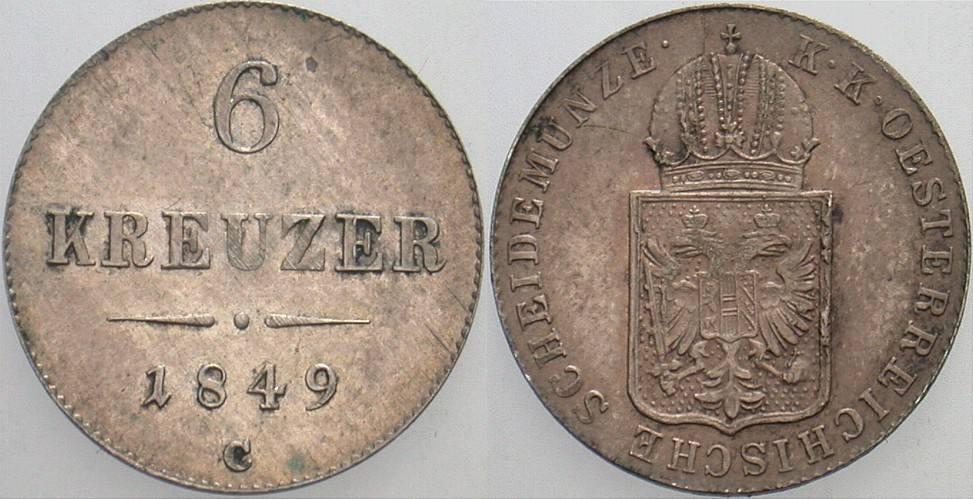 6 Kreuzer 1849 C - Prag Haus Habsburg Franz Joseph I. 1848-1916. Patina, sehr schön +