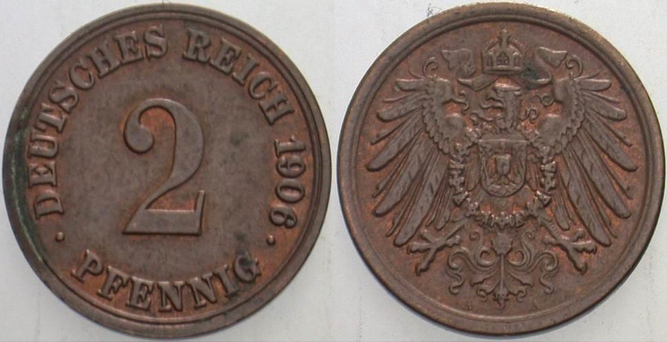 2 Pfennig 1906 A Kleinmünzen Patina, vorzüglich
