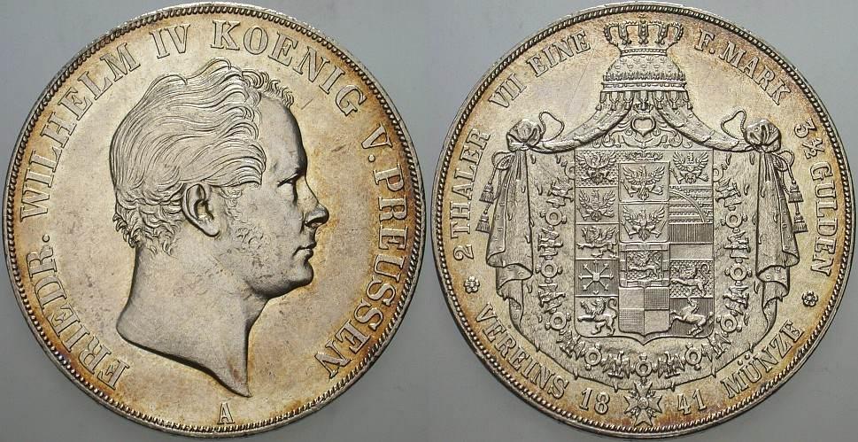 Doppeltaler 1841 A Preußen Friedrich Wilhelm IV. 1840-1861 Patina, winz. Randfehler, vorzüglich