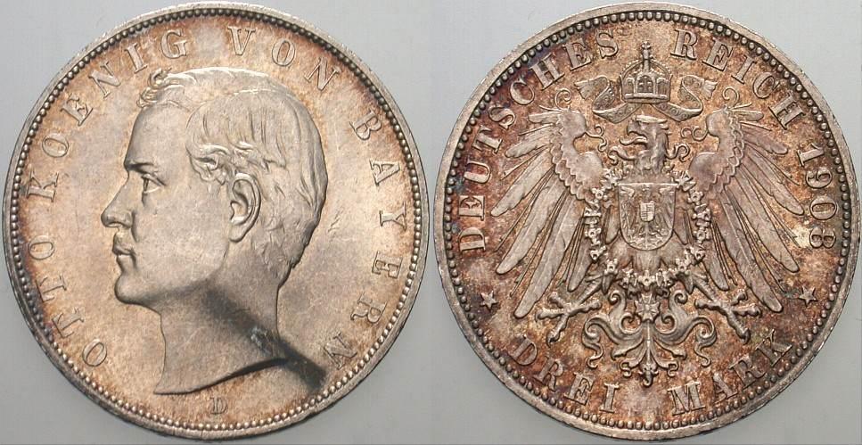 3 Mark 1908 D Bayern Otto 1886-1913. Patina, fast Stempelglanz