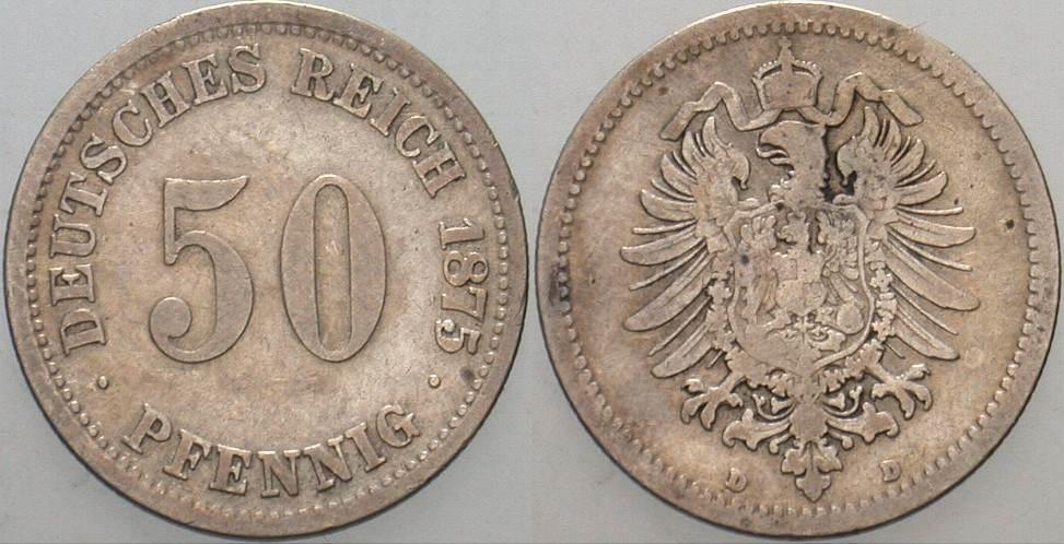 50 Pfennig 1875 D Kleinmünzen Schön - sehr schön