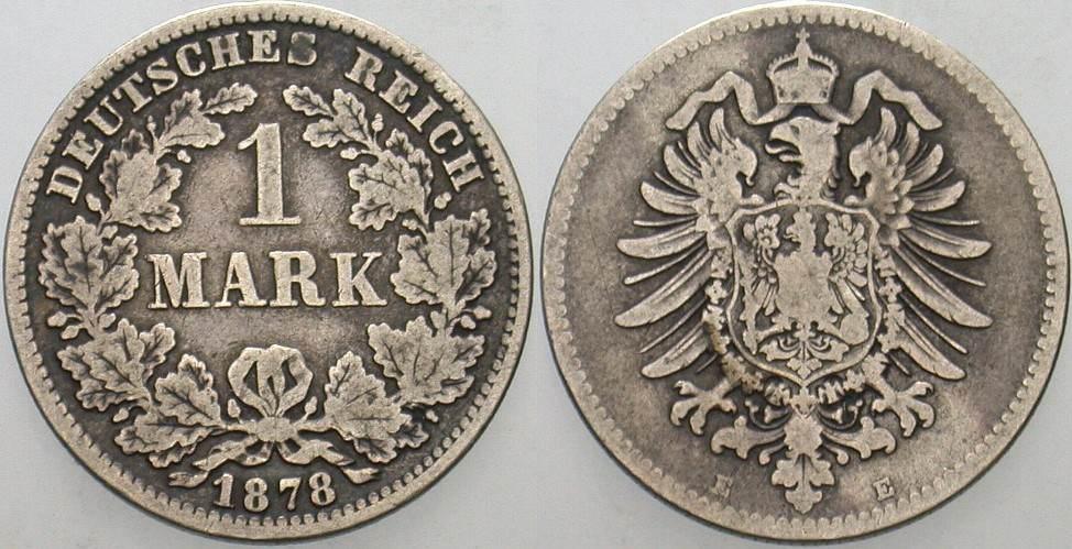 1 Mark 1878 E Kleinmünzen Schön