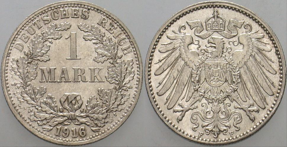 1 Mark 1916 F Kleinmünzen Patina, vorzüglich