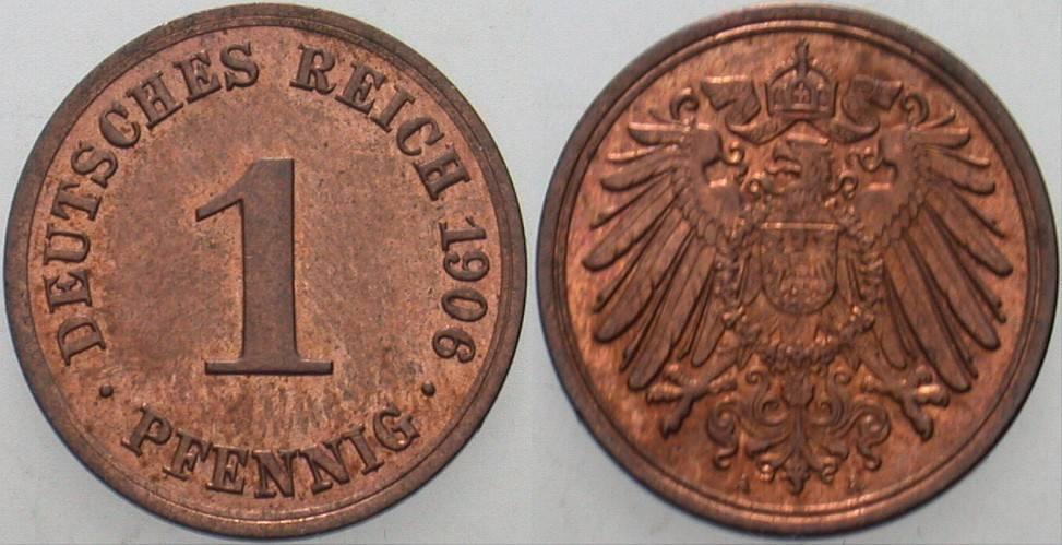 1 Pfennig 1906 A Kleinmünzen Patina, fast Stempelglanz