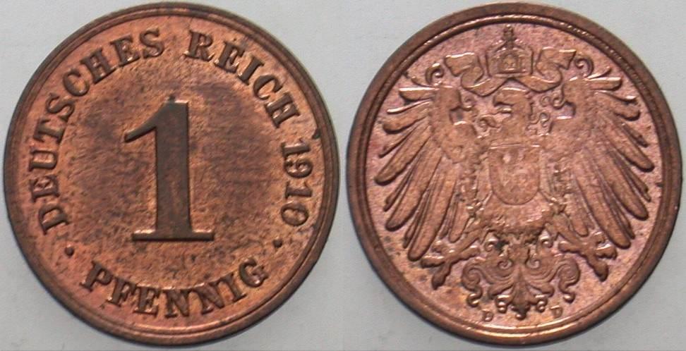 1 Pfennig 1910 D Kleinmünzen Patina, fast Stempelglanz