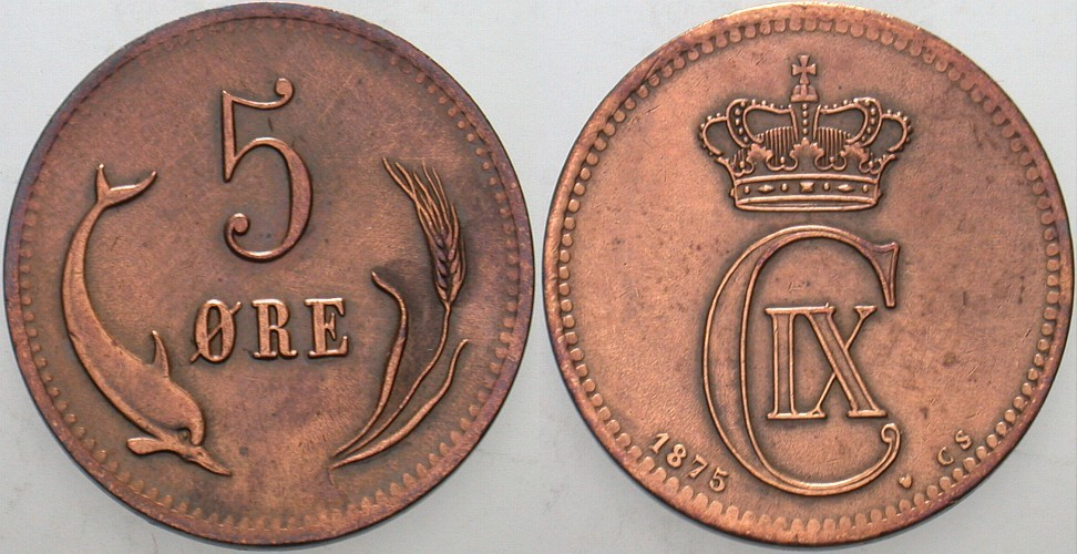 5 Ore 1875 Dänemark Christian IX. 1863-1906. Sehr schön
