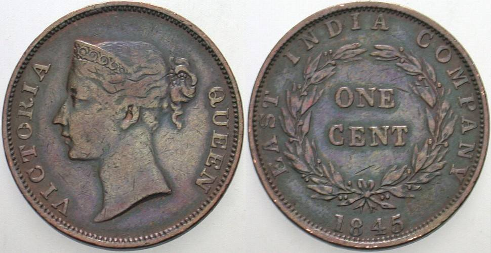1 Cent 1845 Straits Settlements Victoria , 1837-1901 Sehr schön