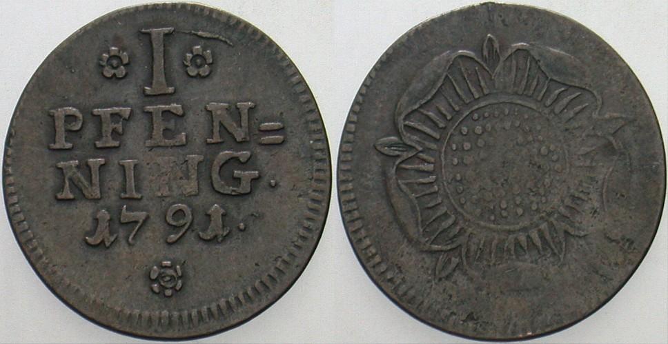Pfennig 1791 Detmold Lippe-Detmold, Friedrich Wilhelm Leopold, 1789-1802. Fast sehr schön