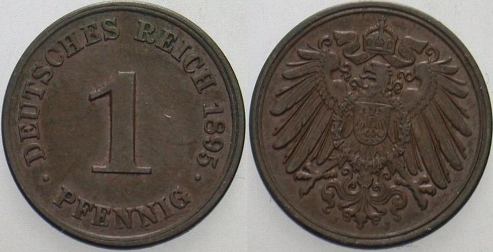 1 Pfennig 1895 J Kleinmünzen Fast vorzüglich
