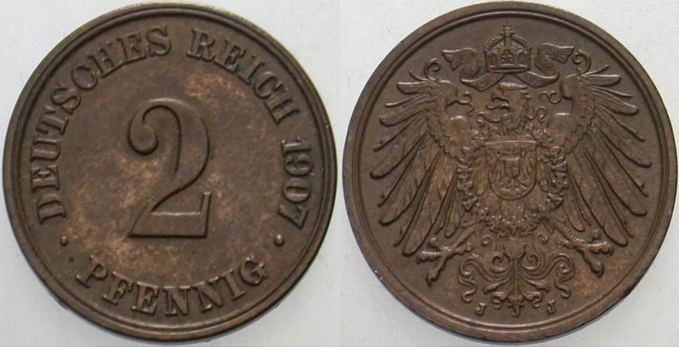 2 Pfennig 1907 J Kleinmünzen Fast vorzüglich