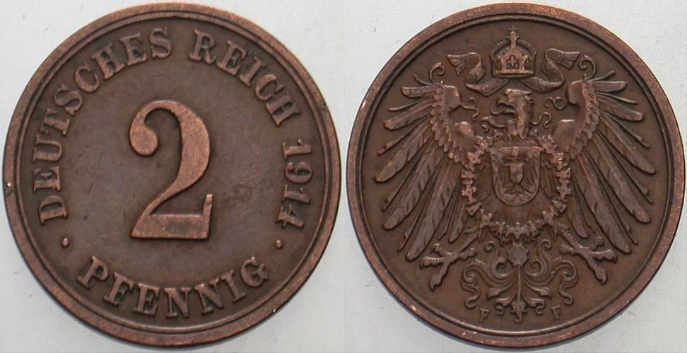 2 Pfennig 1914 F Kleinmünzen Sehr schön