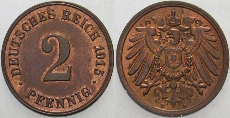 2 Pfennig 1915 D Kleinmünzen Vorzüglich +