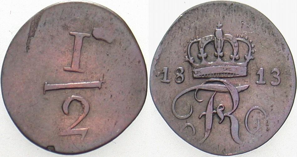 1/2 Kreuzer 1813 Württemberg Friedrich I. 1797-1806-1816. Sehr schön