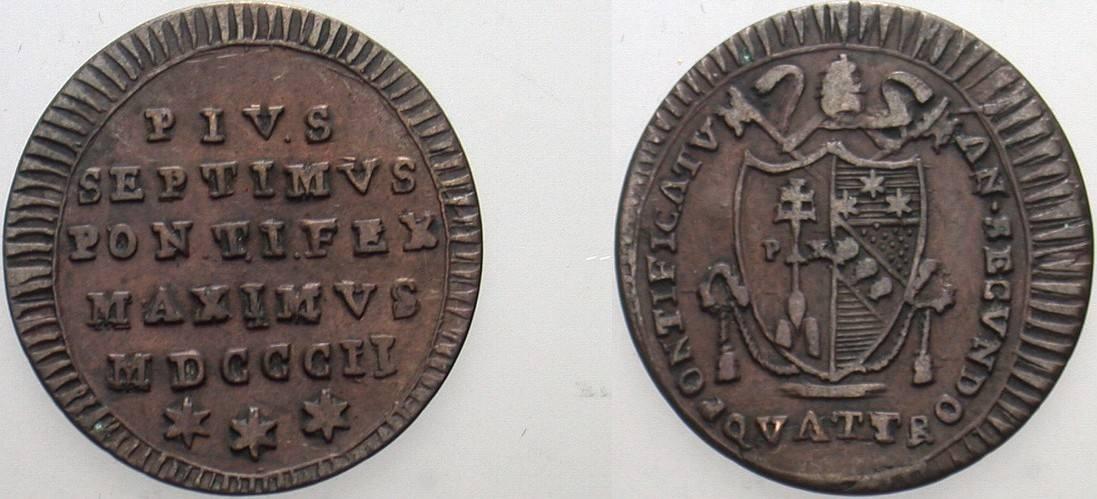 Quattrino 1802 Italien-Kirchenstaat Pius VII. 1800-1823. Sehr schön