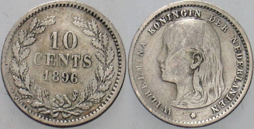 10 Cent 1896 Niederlande-Königreich Wilhelmina I. 1890-1948. Sehr schön