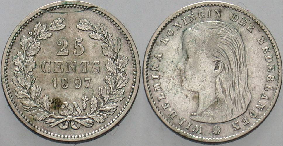 25 Cent 1897 Niederlande-Königreich Wilhelmina I. 1890-1948. Kratzer, sehr schön