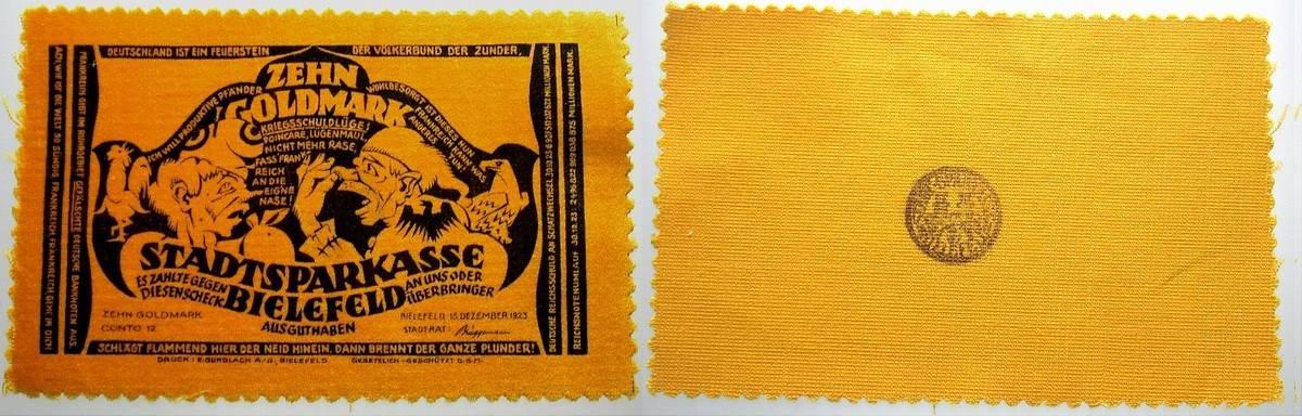 10 Goldmark 1923-12-15 Bielefeld Fast kassenfrisch