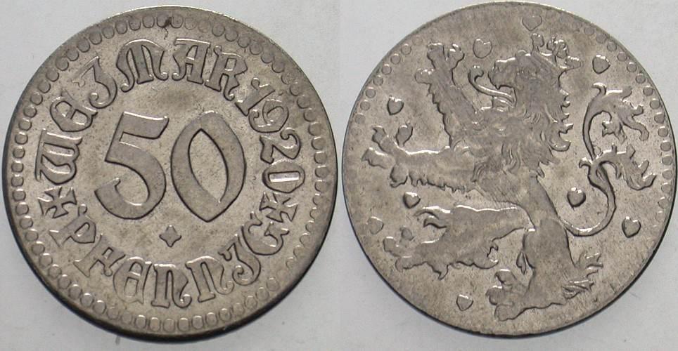 50 Pfennig 1920 Weimar Stadt Vorzüglich - Stempelglanz