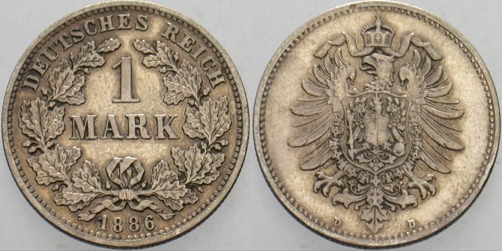 1 Mark 1886 D Kleinmünzen Sehr schön