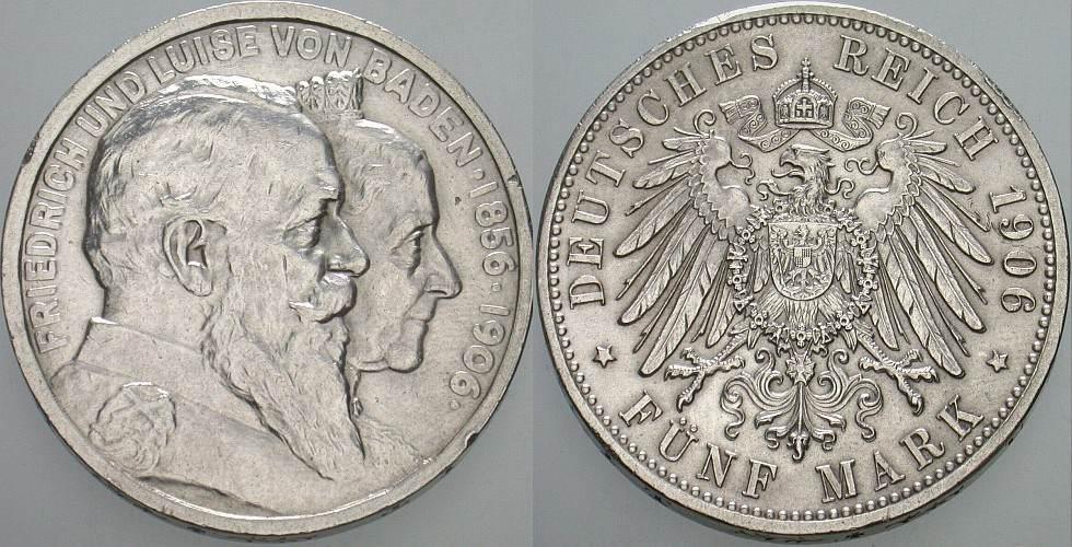 5 Mark 1906 G Baden Friedrich I. 1856-1907 Kl. Randfehler, vorzüglich
