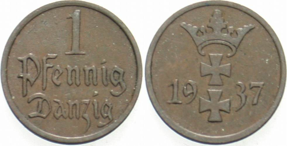 1 Pfennig 1937 A Danzig Sehr schön
