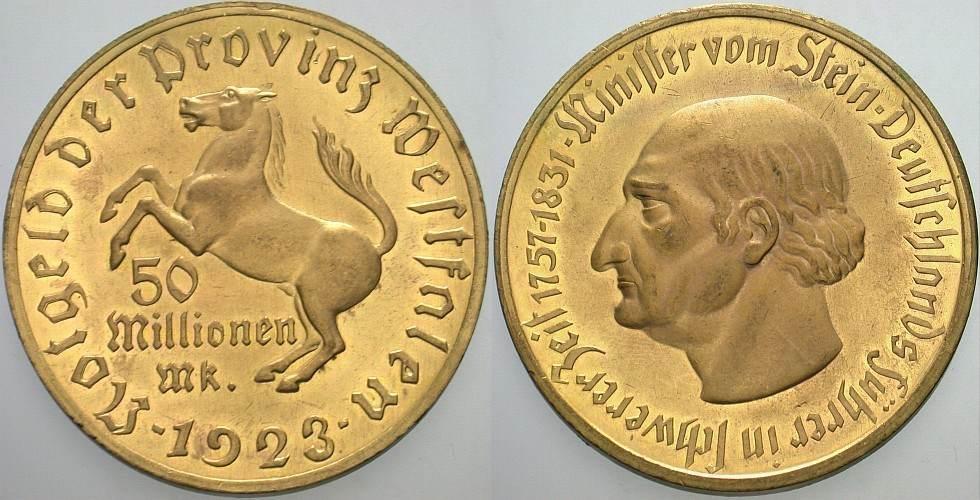 50 Millionen Mark 1923 Provinz Westfalen Vorzüglich +