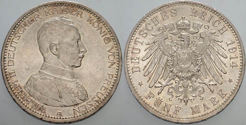 5 Mark 1914 A Preußen Wilhelm II. 1888-1918. Patina, vorzüglich - Stempelglanz