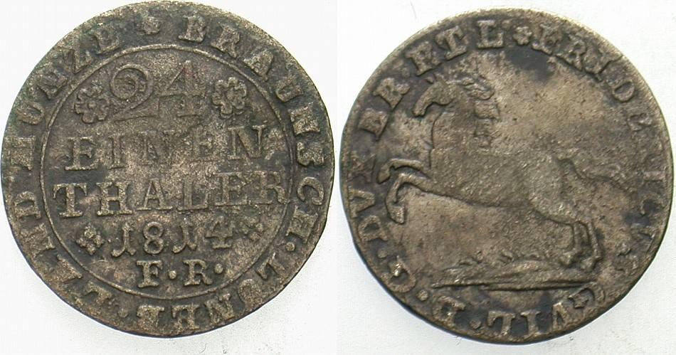1/24 Taler 1814 FR Braunschweig Friedrich Wilhelm 1806-1815. Sehr schön