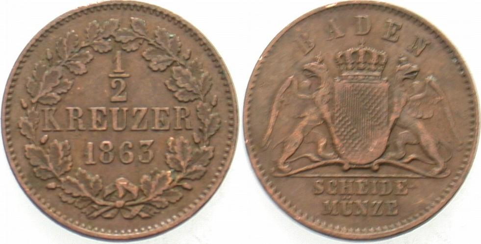 1/2 Kreuzer 1863 Baden Friedrich I 1852-1907. Sehr schön