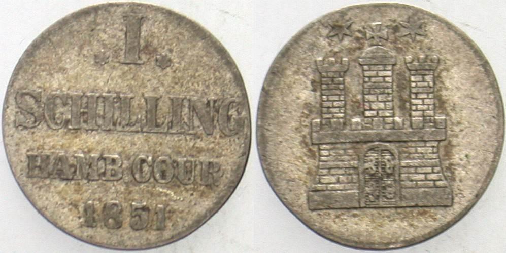 1 Schilling 1851 Hamburg Fast sehr schön