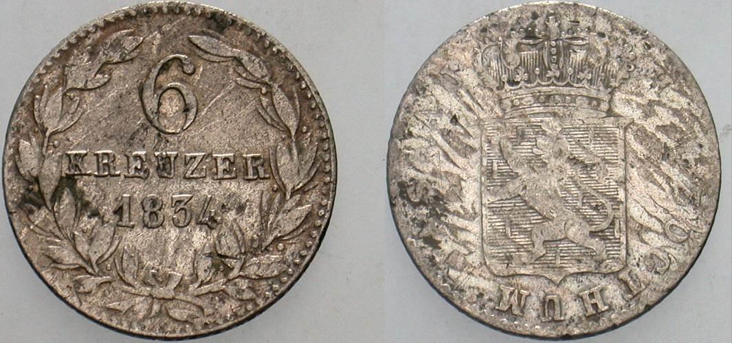 6 Kreuzer 1834 Nassau Wilhelm 1816-1839. Schön - sehr schön